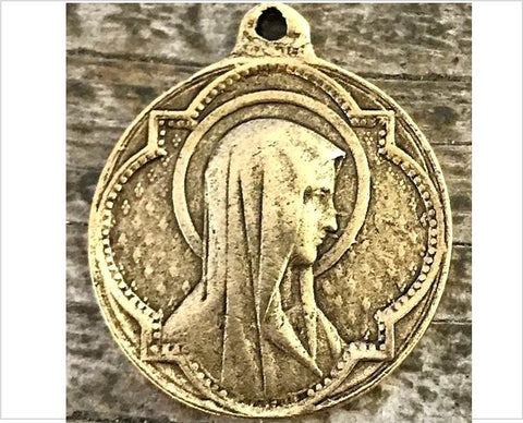 Antiqued Gold Virgin Mary Medal Pendant
