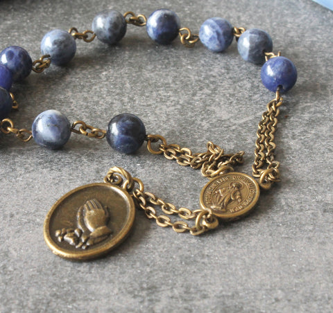 Blue stone pocket rosary St Anthony of Padua