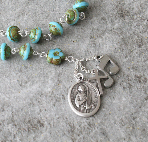 Patron saint musicians, poets, composers rosary beads