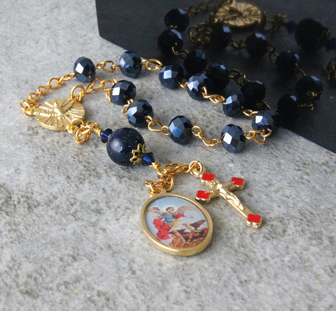Boy's Confirmation Pocket Rosary, Saint Michael Medal