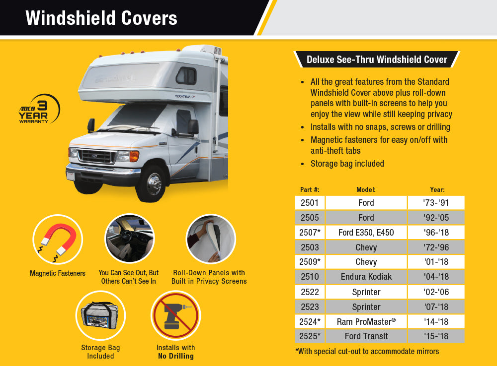 Class C Chevy/GMC RV Windshield Cover With Windows Features