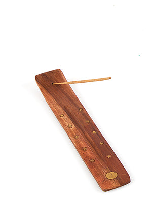 Wooden Brass Incense Holder Sun - The Fragrance People