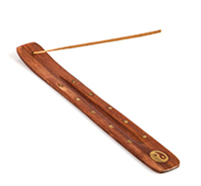 Wooden Brass Incense Holder Yin & Yang - The Fragrance People