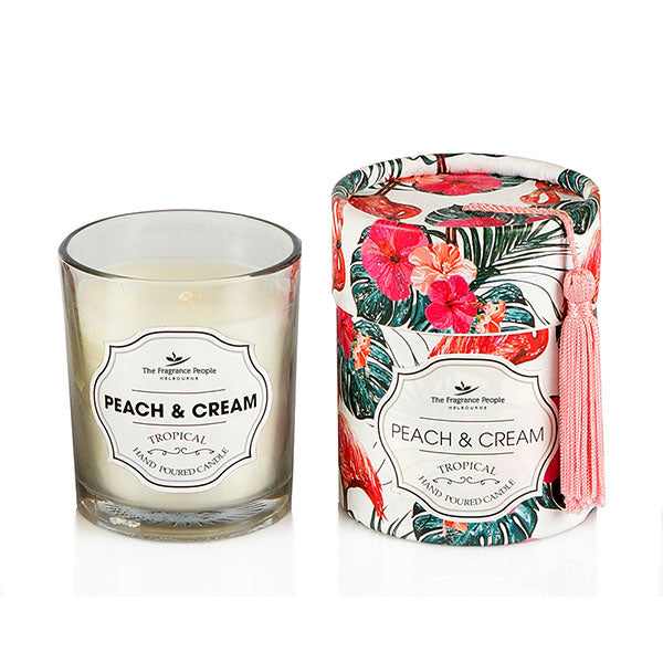 Peach & Cream Glass Candle - The Fragrance People