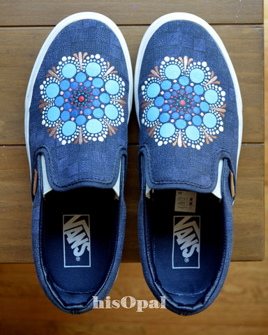 Mandala Canvas Shoes, Painted Shoes, Slip On Shoes, Hand Painted Sneakers, Painted Vans Size 6.5 Mens, Size 8 Womens