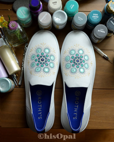 Hand Painted Teal Mandala Rothy's, Painted Shoes, Slip On Sneakers, Size 9.5, (canvas section)