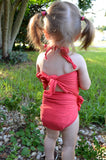 Girls Bathing Suit Dark Coral Wrap Around Swimsuit Toddler Swimsuit Girls Swimwear One Size Swimsuit - hisOpal Swimwear - 3