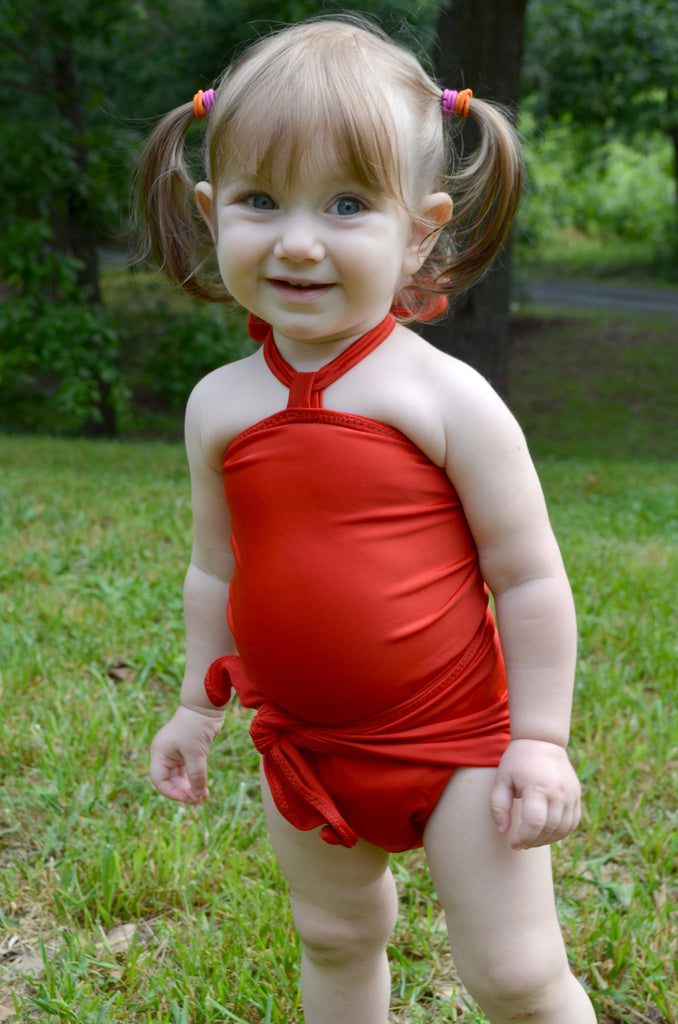 Baby Bathing Suit Tomato Red Wrap Around Swimsuit Toddler Infant Girls Tie On Swimwear - hisOpal Swimwear - 1