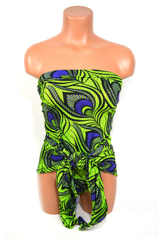 Medium Bathing Suit Bright Chartreuse and Purple Peacock Print Wrap Around Swimsuit Swimwear