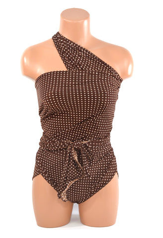 Medium Bathing Suit Wrap Around Swimsuit Chocolate Brown and Pink Polka Dots
