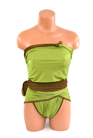 Medium Reversible Wrap Around Swimsuit Chocolate Brown and Lime Green Bathing Suit Swimwear