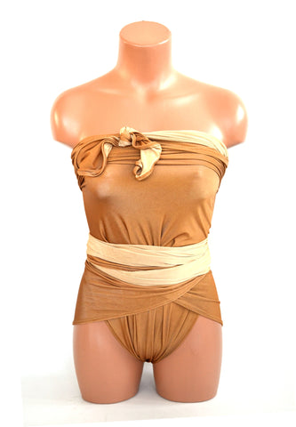 Medium Reversible Wrap-around Swimsuit Copper and Nude Bathing Suit Modest Swimwear hisOpal