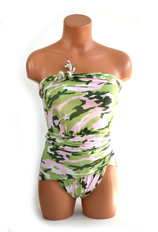Medium Bathing Suit Wrap Around Swimsuit Pink and Mint Camouflage Print Womens Swimwear