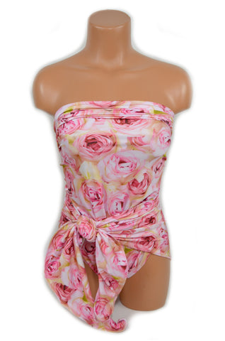 Bathing Suit Pink Roses Medium Wrap Around Swimsuit One Wrap Floral Body Suit