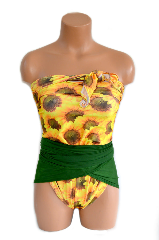 Bathing Suit Large Wrap Around Swimsuit Sunflower Print and Hunter Green One Piece Swimsuit - hisOpal Swimwear - 1