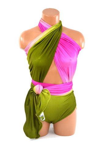 Large Bathing Suit Watermelon Wrap Around Swimsuit Hot Pink w/ Olive Ombre One Wrap Swimwear