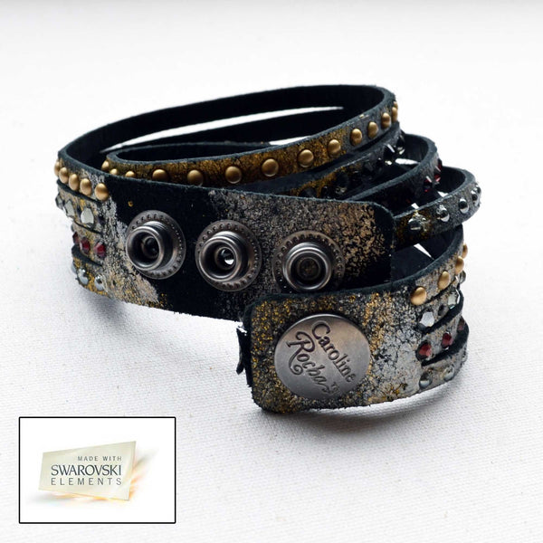Leather Cuffs in Swarovski Crystals