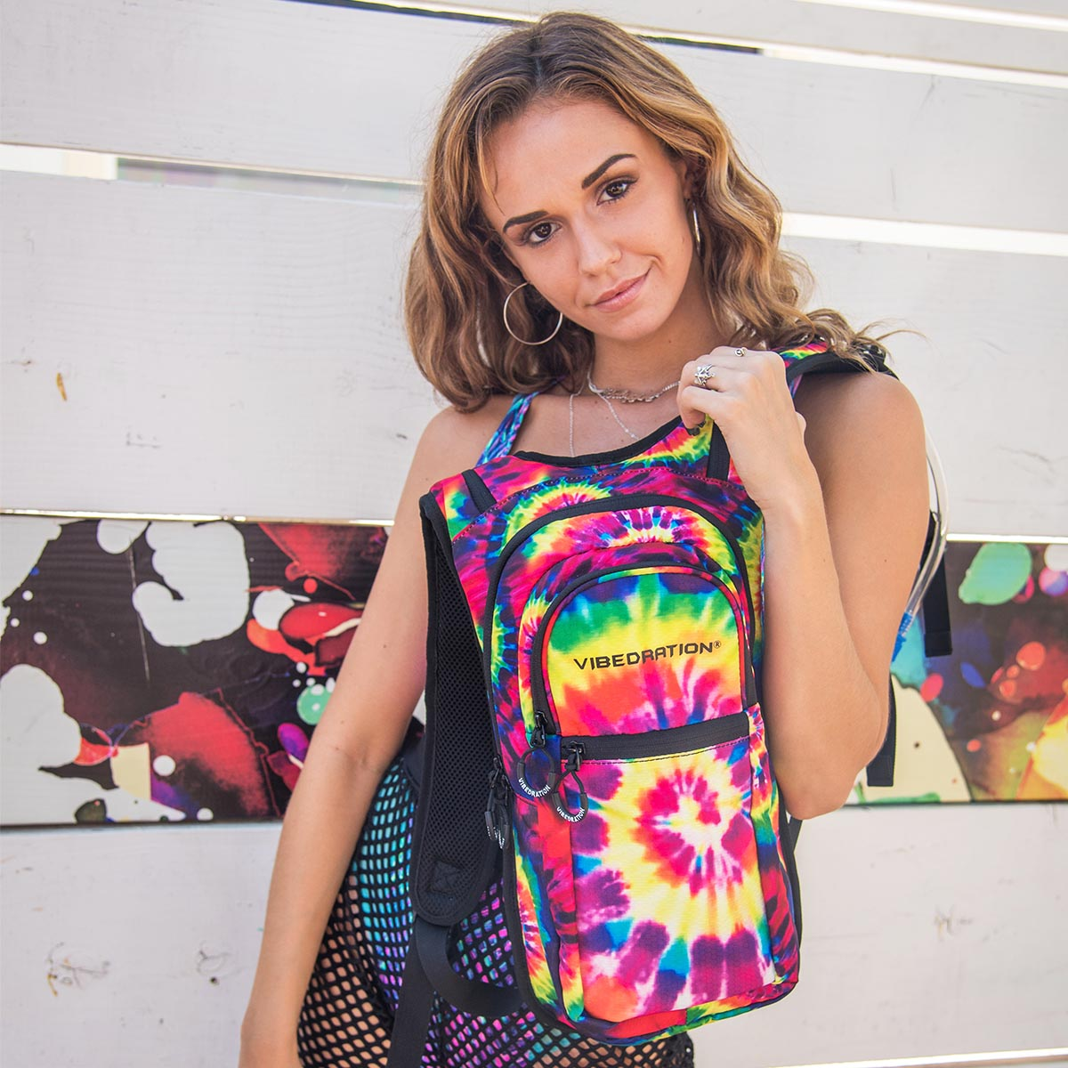 Gabby David wearing Tie-Dye Hydration Pack