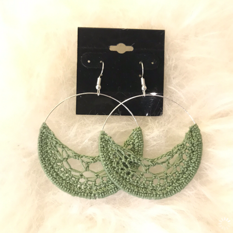 Crochet Hoop Earrings: Olive Green