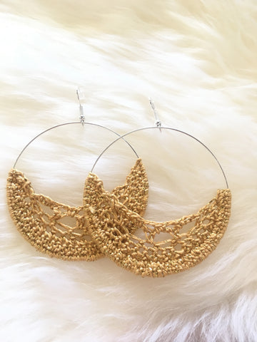 Crochet Hoop Earrings: Bronze