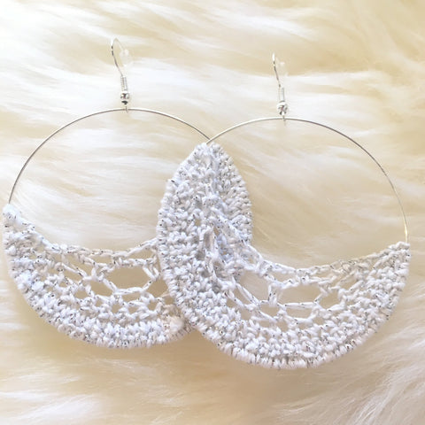 Crochet Hoop Earrings: White