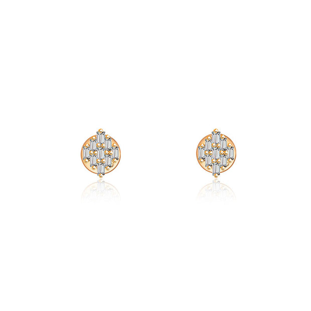 18k Gold Rectangle Diamond Stud Earring - Genevieve Collection