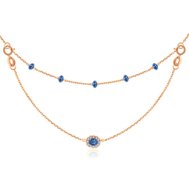 18k Gold 2 Ways By The Yard Sapphire Bead Necklace - Genevieve Collection