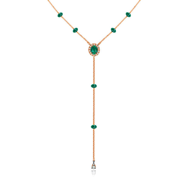 18k Gold By the Yard Emerald Dangle Necklace - Genevieve Collection