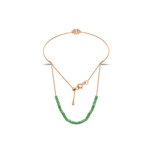 18k Gold Emerald Beaded Bracelet with Diamond Bangle - Genevieve Collection