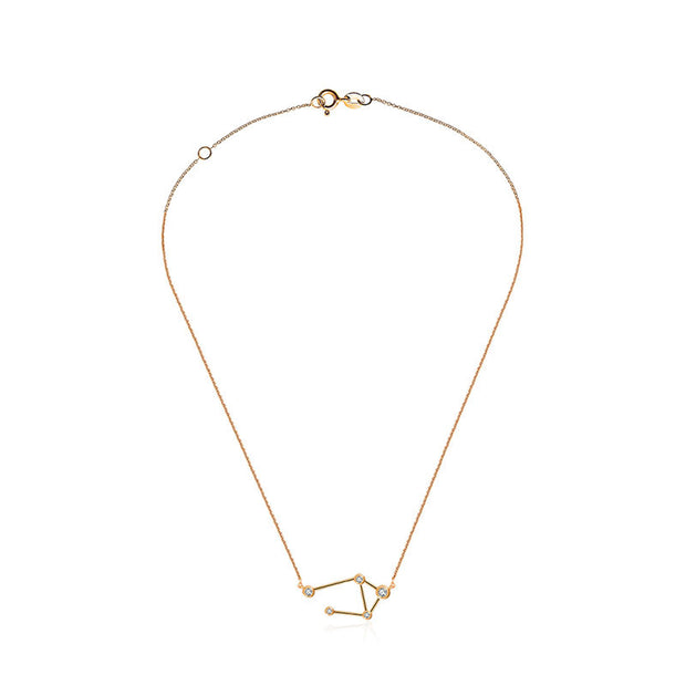 18k Gold Libra Diamond Necklace - Genevieve Collection