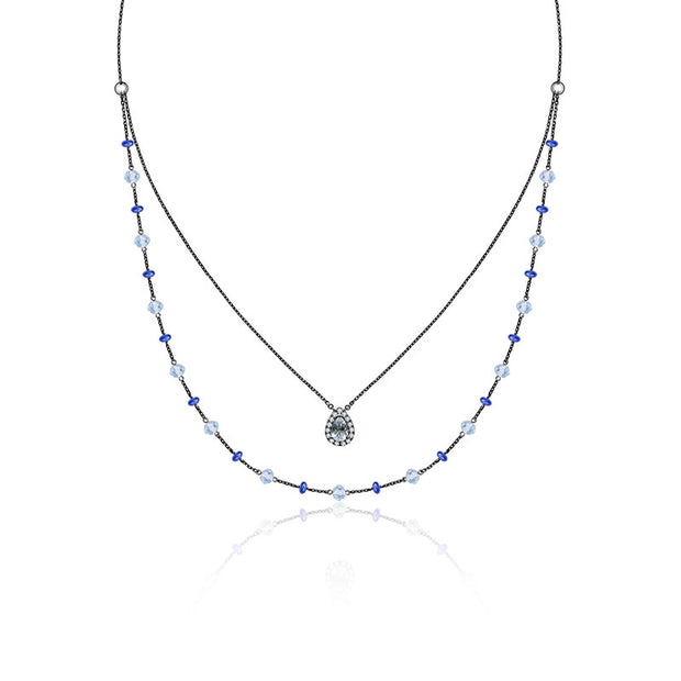18k Gold 2 Layers Aquamarine Diamond Stack Necklace with Topaz & Sapphire bead - Genevieve Collection