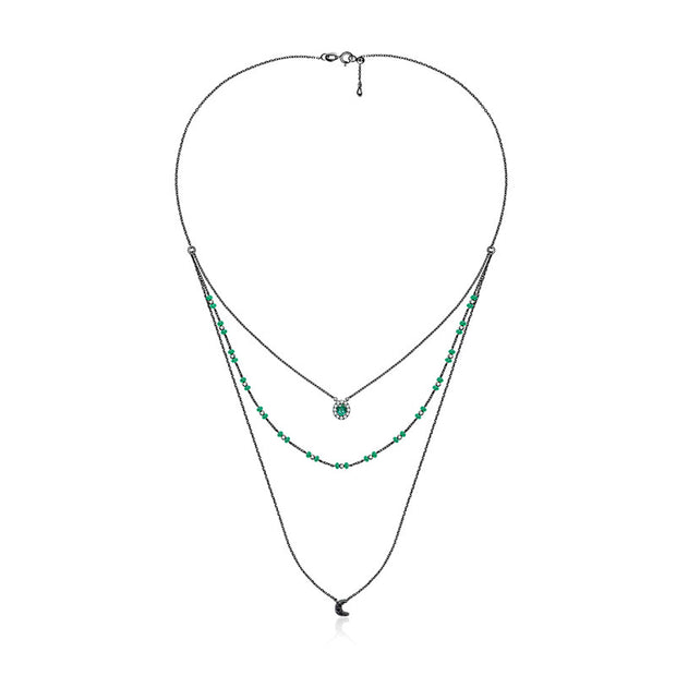 18k Gold 3 layers Stack Diamond Necklaces with Emerald bead - Genevieve Collection