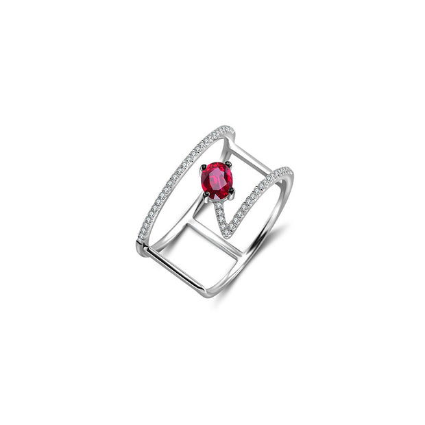 18k Gold Diamond Double Ring with Ruby - Genevieve Collection