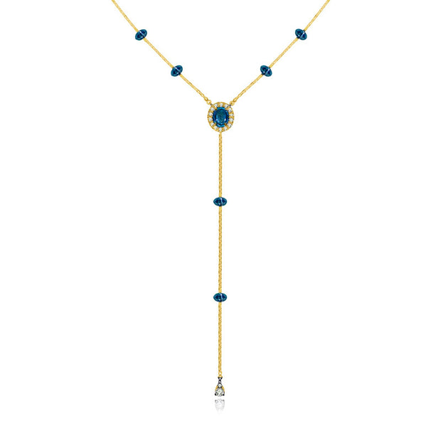 18k Gold By the Yard Sapphire Dangle Necklace - Genevieve Collection