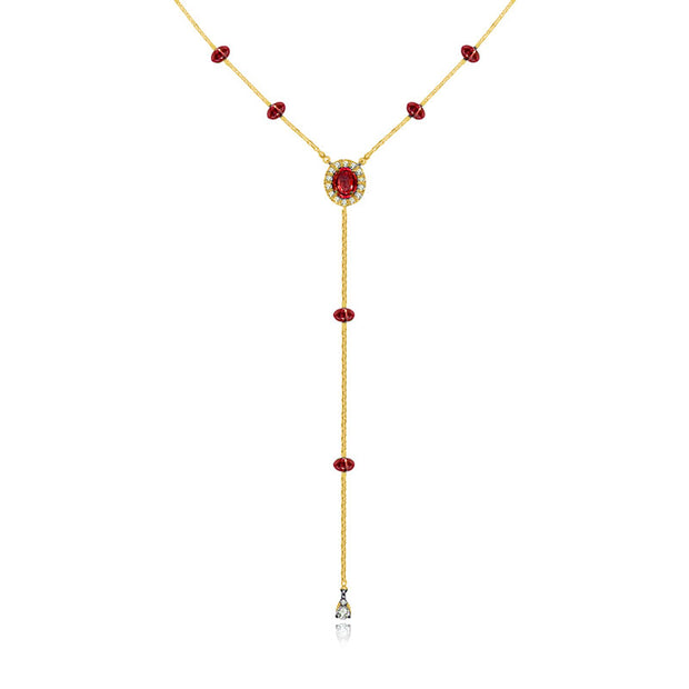 18k Gold By the Yard Ruby Dangle Necklace - Genevieve Collection