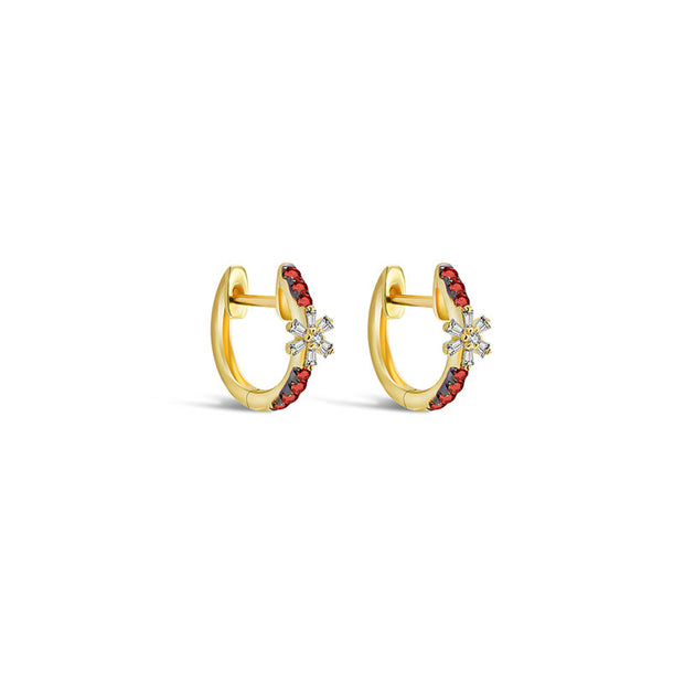 18k Gold Hoop Diamond And Ruby Earring with Flower Pattern - Genevieve Collection