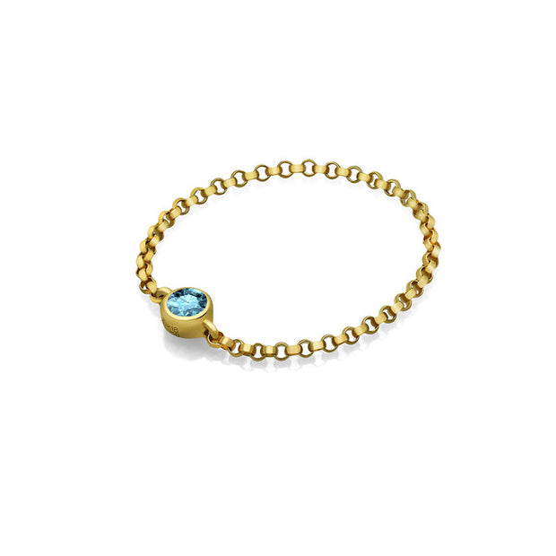 18k Gold March Birthstone Aquamarine Chain Ring - Genevieve Collection