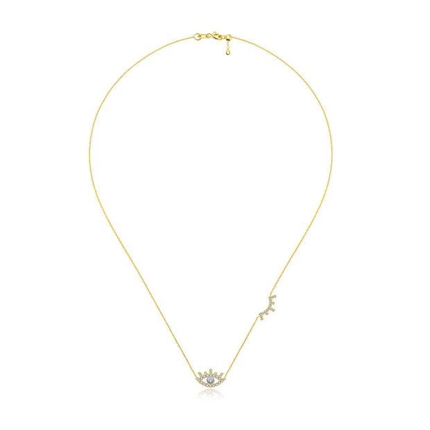 18k Gold Evil Eye & Eyelash Diamond Necklace - Genevieve Collection