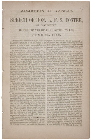 1856, Speech Pamphlet: Admission of Kansas