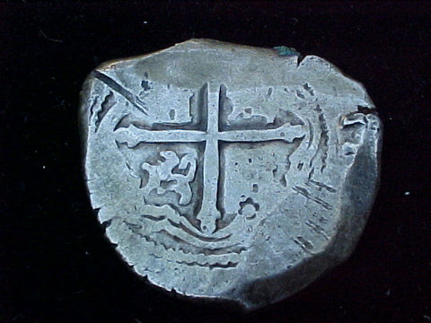 Spanish New World Silver 8 Reales COB, MEXICO, P, PHILIP IV, #1195 From The Shipwreck, CONCEPCION 1641