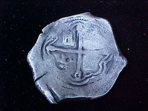 Spanish New World Silver 8 Reales COB, MEXICO, P, PHILIP IV, #1213 From The Shipwreck CONCEPCION 1641