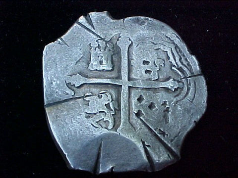 Spanish New World Silver 8 Reales COB, MEXICO, P, PHILIP IV, #1224 From The Shipwreck CONCEPCION 1641