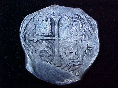 Spanish New World Silver 8 Reales COB, MEXICO, P, PHILIP IV, #1233 From The Shipwreck CONCEPCION 1641