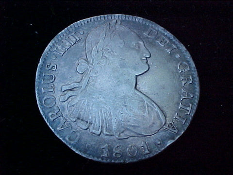 Spanish New World Silver 1801 MEXICO, FT, 8 Reales, CAROLUS IIII, PORTRAIT SCREW PRESS, #1255 Colonial Coins