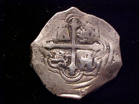 Spanish New World Silver 4 Reales COB, MEXICO, P, PHILIP IV, #1319 From The Shipwreck CONCEPCION 1641