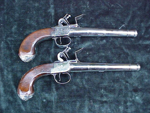 (PAIR) of English Full Size Silver Mounted Box-Lock Flint Pistols by, GRIFFIN, LONDON, #3062 Firearms