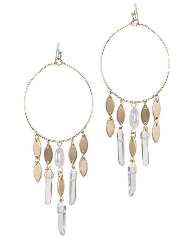 Lucite and Gold Coin Fringe Earrings