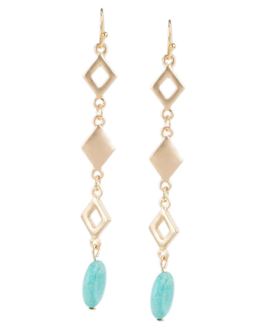 Geometric Linear Drop Earrings with Turquoise