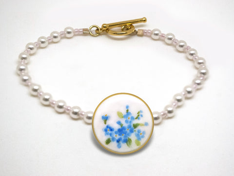 Antique Porcelain Forget-Me-Not Bracelet