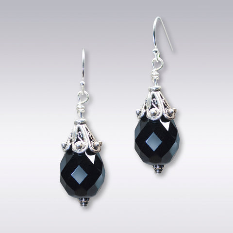 Black Teardrop Crystal Earrings